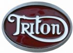 Triton Red/White Motorcycle Belt Buckle with display stand. Code SE1